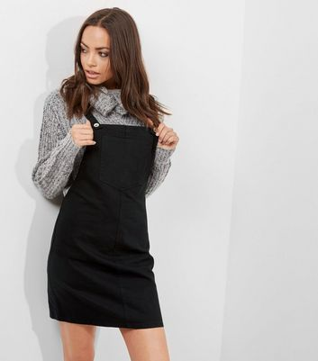 Product photo of Black denim dungaree pinafore dress