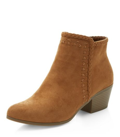 Tan Plaited Trim Pointed Ankle Boots  | New Look