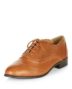 Tan Leather Brogues  | New Look