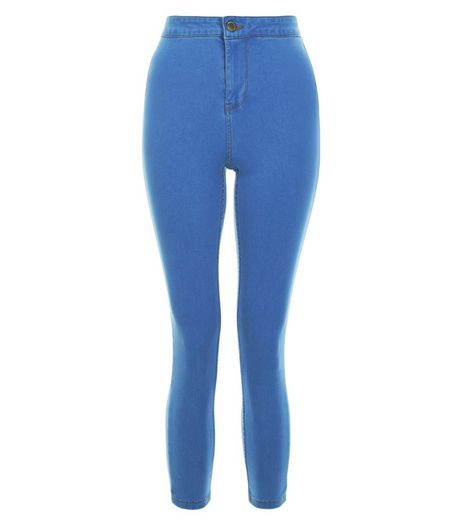 Blue High Waisted Super Skinny Cropped Jeans  | New Look