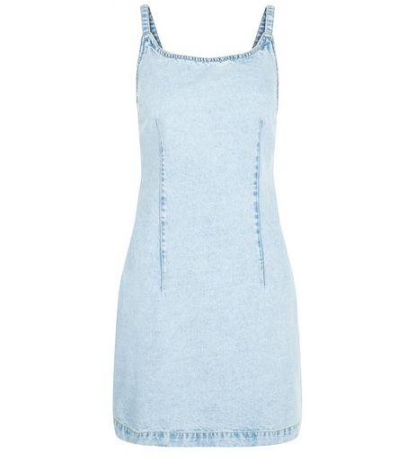 Light Blue Denim Acid Wash Bodycon Dress  | New Look