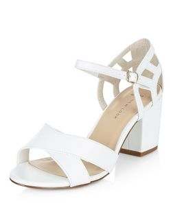 Wide Fit White Cross Strap Cut Out Block Heel Sandals  | New Look