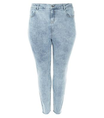 Curves Pale Blue Acid Wash Skinny Jeans