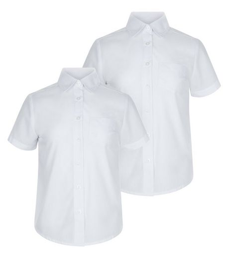 Girls 2 Pack White Short Sleeve Shirts | New Look