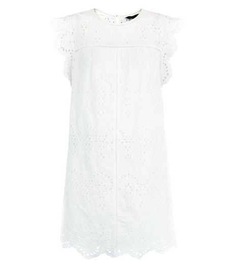 White Broiderie Flutter Sleeve Tunic Dress  | New Look