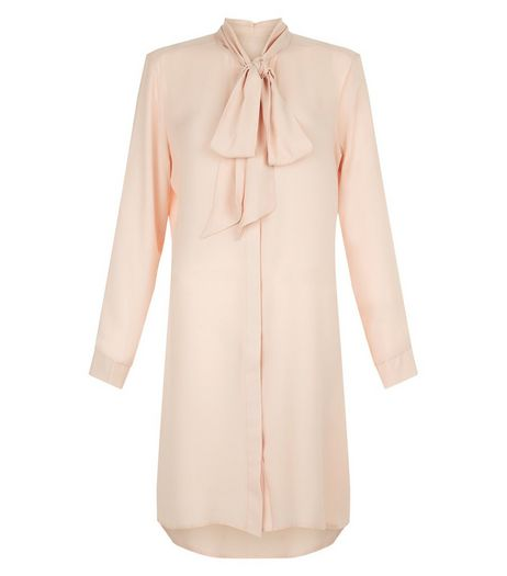Blue Vanilla Shell Pink Pussybow Shirt Dress | New Look