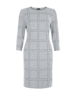 Light Grey Grid Check 1/2 Sleeve Bodycon Dress  | New Look