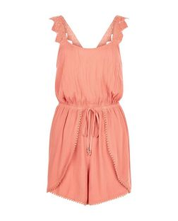 Peach Pom Pom Trim Crochet Strap Playsuit  | New Look