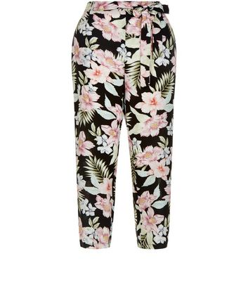 Black Tropical Floral Print Tie Waist Trousers