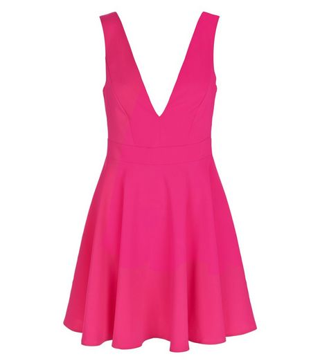 Bright Pink Plunge Sleeveless Skater Dress  | New Look