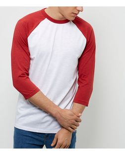 Red Raglan 3/4 Sleeve Top  | New Look