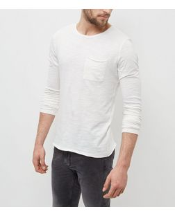 Cream Raw Hem Long Sleeve Top | New Look