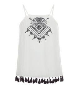 Teens Cream Embroidered Tassel Hem Cami | New Look