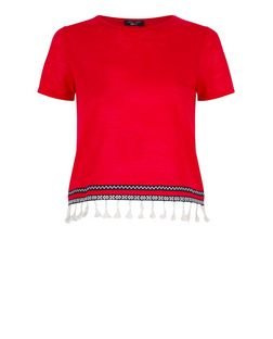 Teens Red Fine Knit Tassel Trim T-Shirt  | New Look