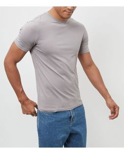 Grey Cotton Stretch T-Shirt  | New Look