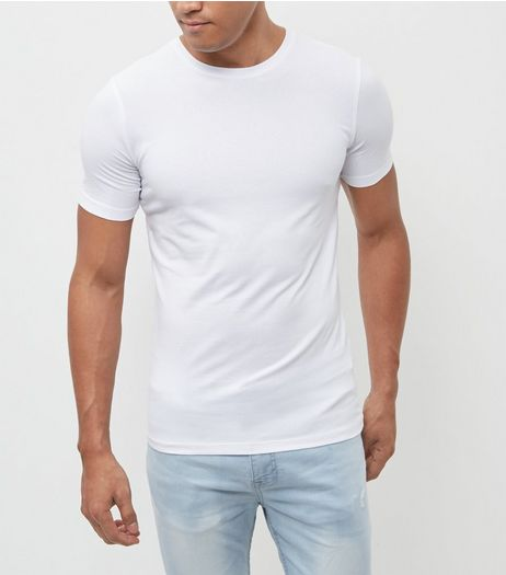 White Cotton Stretch T-Shirt  | New Look