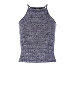 Teens Blue Ribbed High Neck Cami  | New Look