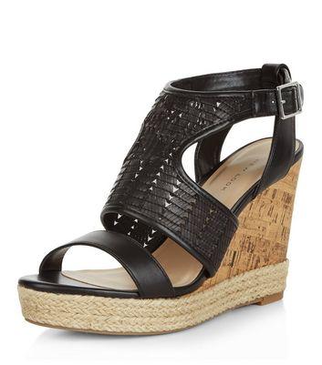 Sandalo  donna Black Woven Cut Out Wedge Sandals