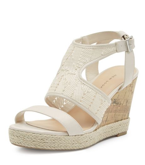 Cream Woven Cut Out Wedge Sandals  | New Look