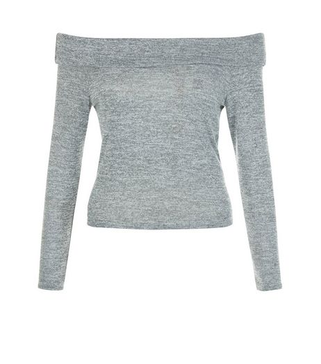 Teens Grey Fine Knit Bardot Top | New Look