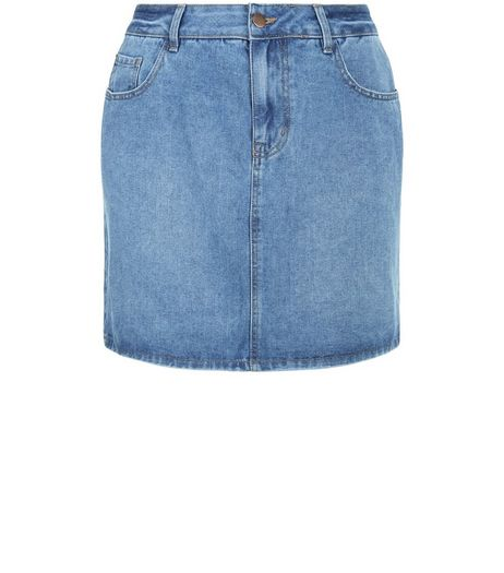 Curves Blue Denim Mini Skirt  | New Look