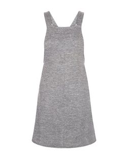 Teens Grey Fine Knit Pinafore Dress | New Look
