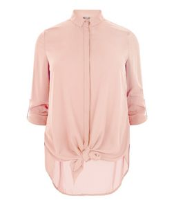Curves Shell Pink Tie Front Shirt | New Look