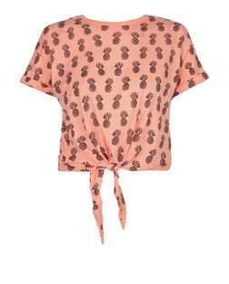 Teens Orange Pineapple Print Tie Front T-Shirt | New Look