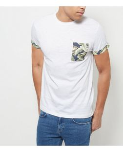 White Floral Print Pocket T-Shirt | New Look