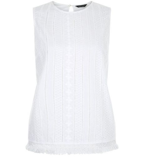 White Laser Cut Out Fray Hem Sleeveless Top | New Look