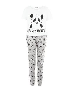 Black Panda Bearly Awake Print Pyjama Set | New Look