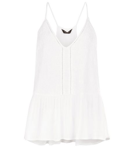 White Embroidered Trim Peplum Cami  | New Look