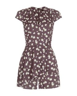 Light Grey Floral Print Wrap Front Playsuit  | New Look