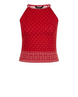 Teens Red Tile Print High Neck Cami  | New Look