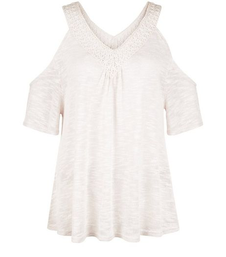 Shell Pink Fine Knit Crochet Trim V Neck Gypsy Top | New Look