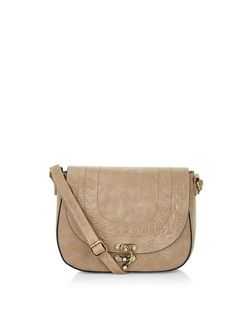 Stone Western Stitch Saddle Bag | New Look