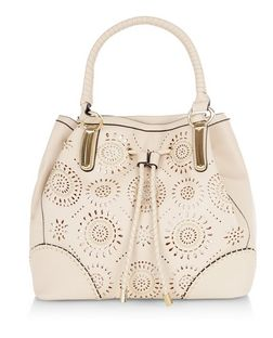 Cream Floral Laser Cut Out Duffle Bag  | New Look