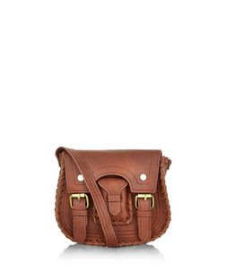 Tan Buckle Strap Mini Saddle Bag  | New Look
