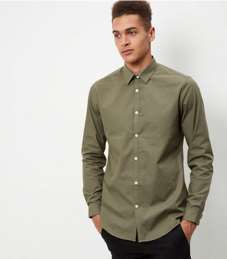 Khaki Long Sleeve Shirt | New Look