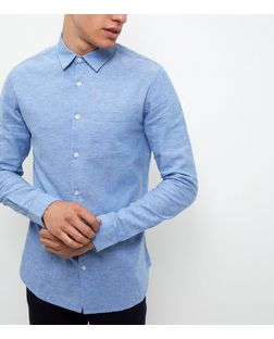 Blue Long Sleeve Single Pocket Shirt | New Look