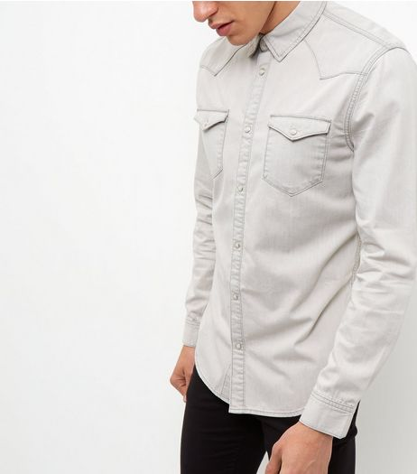 Pale Grey Denim Western Long Sleeve Shirt | New Look