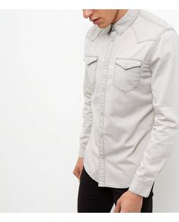 Pale Grey Denim Western Long Sleeve Shirts  | New Look
