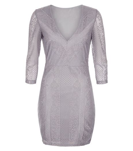 Love & Lies Grey Lace V Neck Dress | New Look