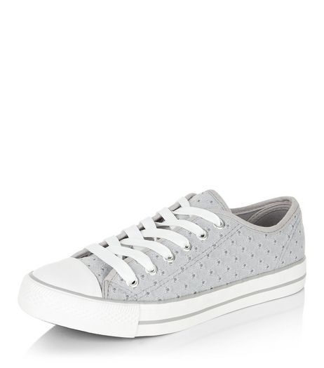 Teens Grey Textured Lace Up Plimsolls  | New Look