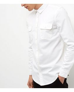 White Denim Double Pocket Long Sleeve Shirt  | New Look