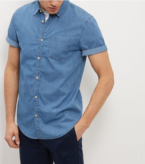 Blue Denim Geo Single Pocket Roll Sleeve Shirt  | New Look