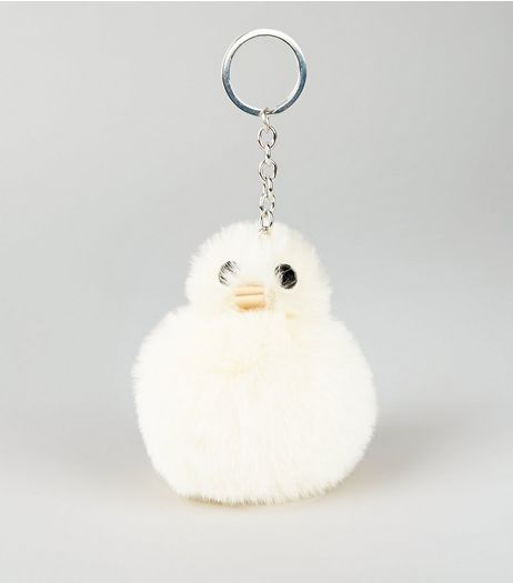 Pale Yellow Chick Pom Pom Keyring | New Look