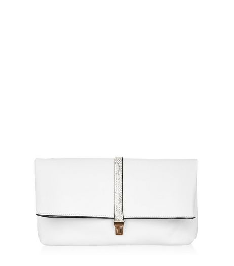 White Snakeskin Pink Strap Clutch | New Look