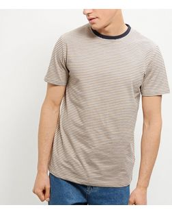 Yellow Stripe Contrast Neck T-Shirt | New Look