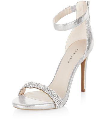 Sandalo  donna Silver Embellished Strap Heeled Sandals